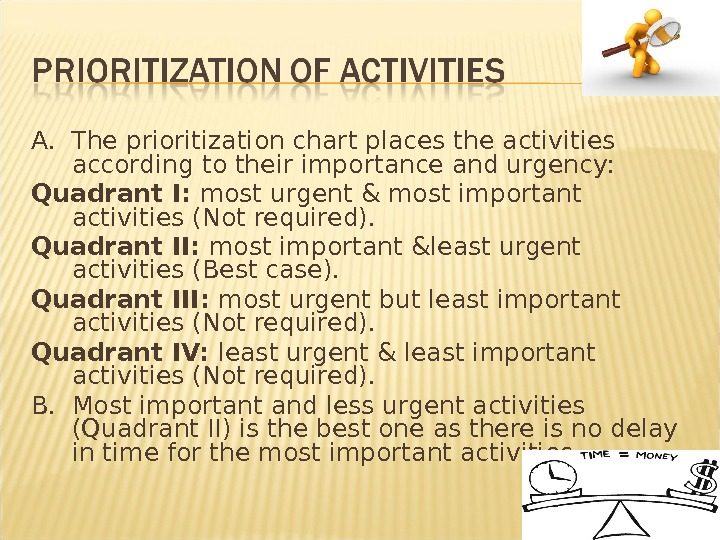 A.  The prioritization chart places the activities according to their importance and urgency: Quadrant I: