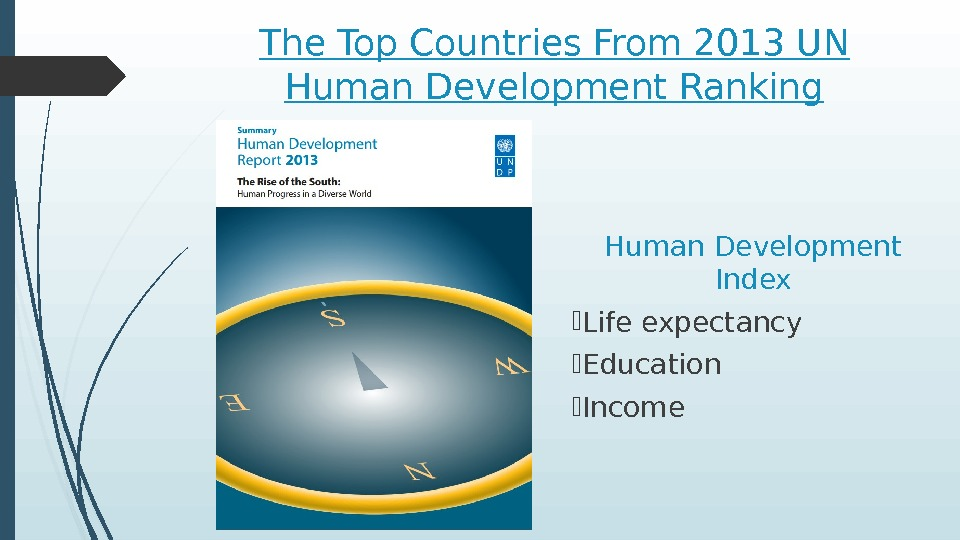 The Top Countries From 2013 UN Human Development Ranking Human Development Index Life expectancy Education Income
