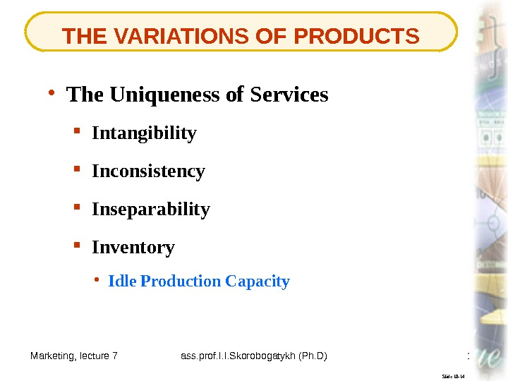 Marketing, lecture 7 ass. prof. I. I. Skorobogatykh (Ph. D) 11 THE VARIATIONS OF PRODUCTS Slide