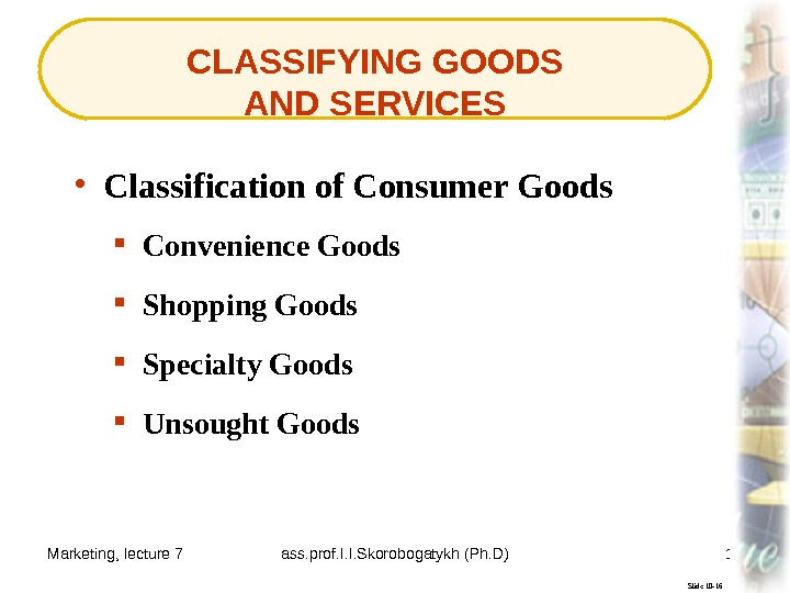 Marketing, lecture 7 ass. prof. I. I. Skorobogatykh (Ph. D) 14 CLASSIFYING GOODS AND SERVICES Slide