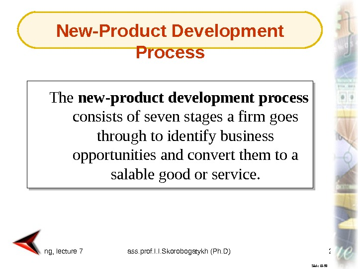 Marketing, lecture 7 ass. prof. I. I. Skorobogatykh (Ph. D) 29 Slide 10 -98 The new-product