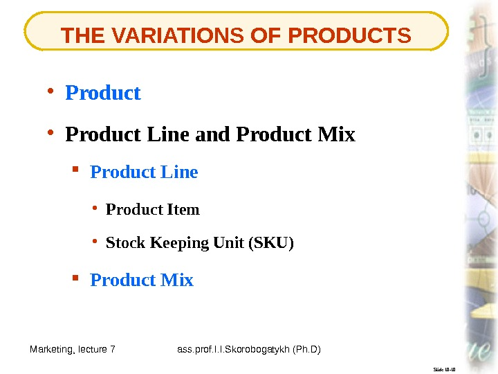 Marketing, lecture 7 ass. prof. I. I. Skorobogatykh (Ph. D) 4 THE VARIATIONS OF PRODUCTS Slide