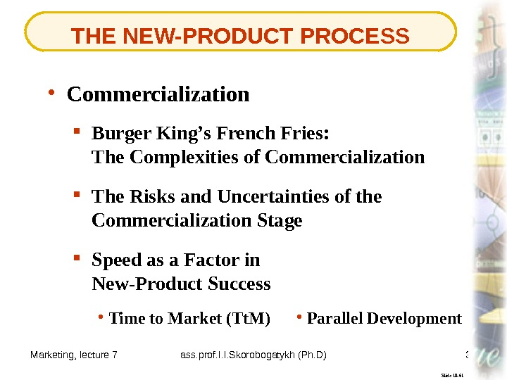 Marketing, lecture 7 ass. prof. I. I. Skorobogatykh (Ph. D) 37 THE NEW-PRODUCT PROCESS Slide 10