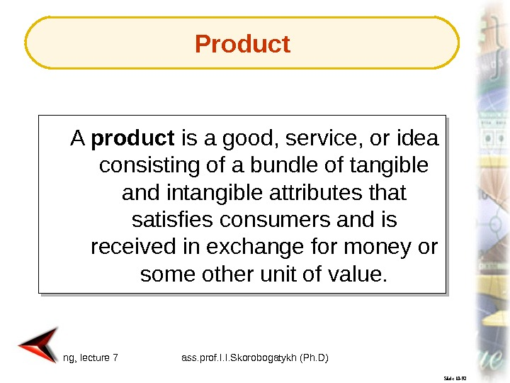 Marketing, lecture 7 ass. prof. I. I. Skorobogatykh (Ph. D) 5 Slide 10 -92 A product