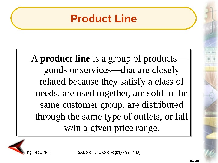 Marketing, lecture 7 ass. prof. I. I. Skorobogatykh (Ph. D) 6 Slide 10 -93 A product