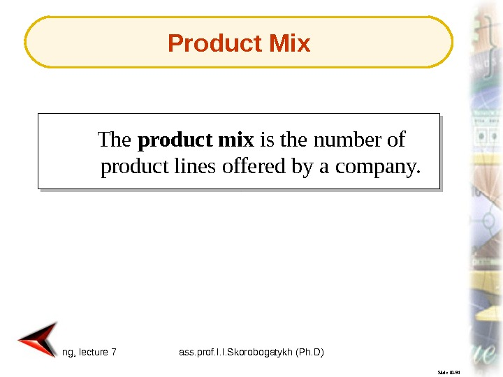 Marketing, lecture 7 ass. prof. I. I. Skorobogatykh (Ph. D) 7 Slide 10 -94 The product