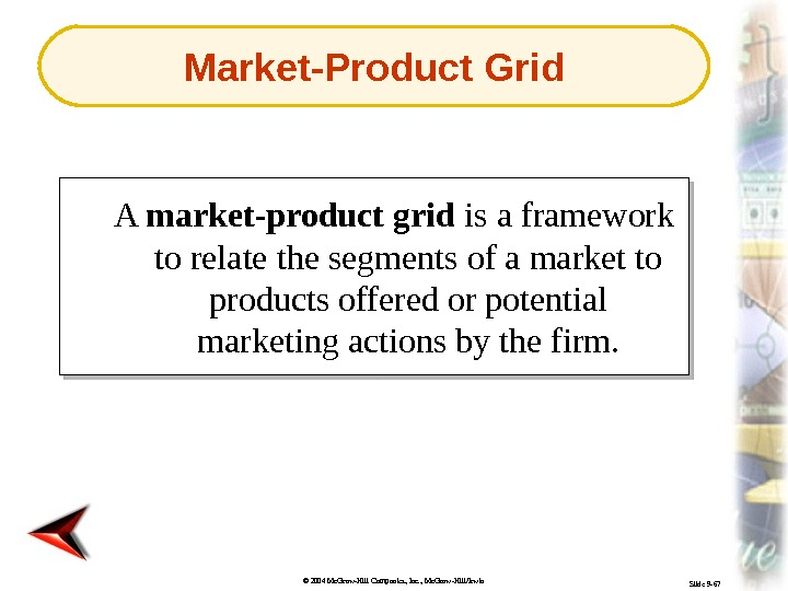 © 2004 Mc. Graw-Hill Companies, Inc. , Mc. Graw-Hill/Irwin Slide 9 -67 A market-product grid is