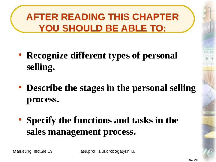 Marketing, lecture 13 ass. prof. I. I. Skorobogatykh I. I. 2 Slide 17 -5 AFTER READING