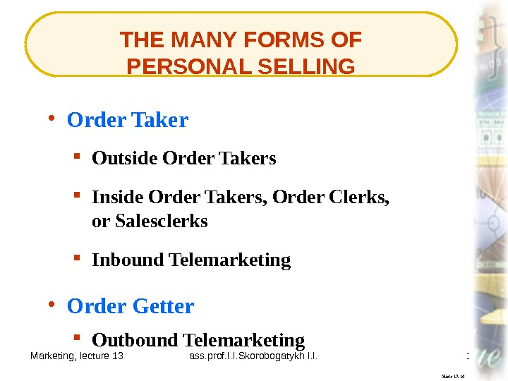 Marketing, lecture 13 ass. prof. I. I. Skorobogatykh I. I. 12 THE MANY FORMS OF PERSONAL