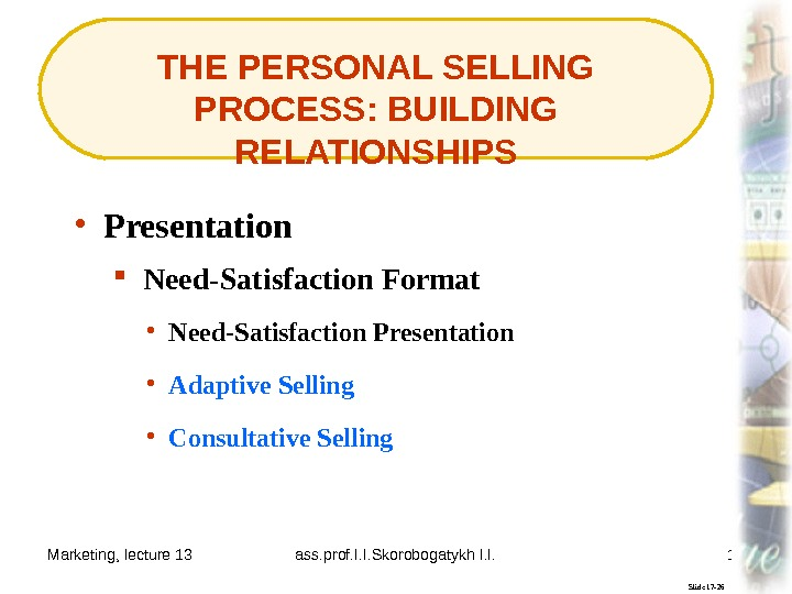 Marketing, lecture 13 ass. prof. I. I. Skorobogatykh I. I. 19 THE PERSONAL SELLING PROCESS: BUILDING