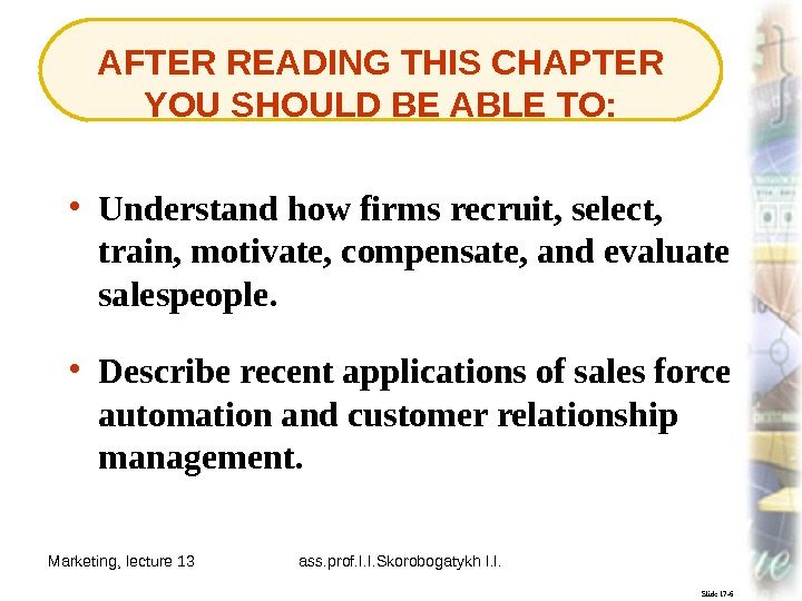 Marketing, lecture 13 ass. prof. I. I. Skorobogatykh I. I. 3 Slide 17 -6 AFTER READING