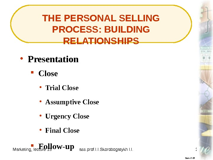 Marketing, lecture 13 ass. prof. I. I. Skorobogatykh I. I. 24 THE PERSONAL SELLING PROCESS: BUILDING