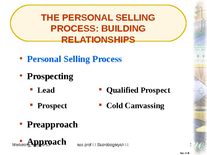 Marketing, lecture 13 ass. prof. I. I. Skorobogatykh I. I. 31 THE PERSONAL SELLING PROCESS: BUILDING