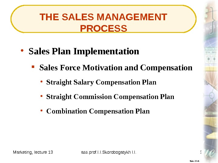 Marketing, lecture 13 ass. prof. I. I. Skorobogatykh I. I. 37 THE SALES MANAGEMENT PROCESS Slide