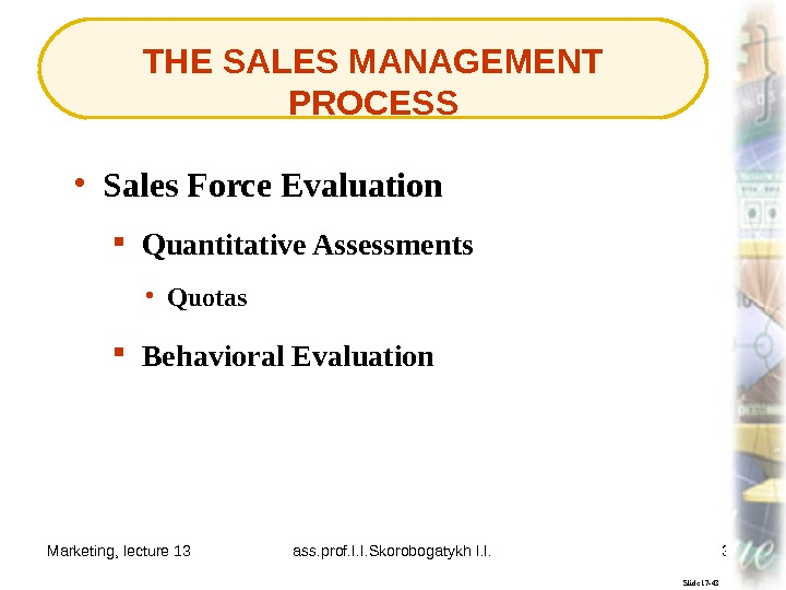 Marketing, lecture 13 ass. prof. I. I. Skorobogatykh I. I. 38 THE SALES MANAGEMENT PROCESS Slide