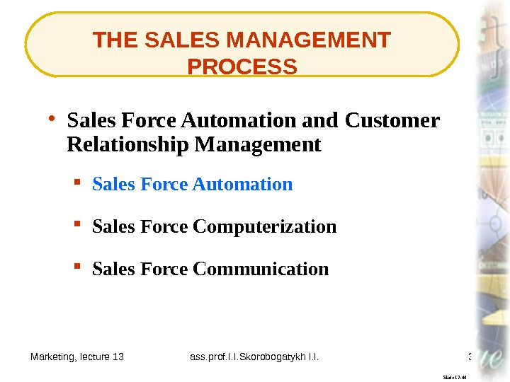 Marketing, lecture 13 ass. prof. I. I. Skorobogatykh I. I. 39 THE SALES MANAGEMENT PROCESS Slide