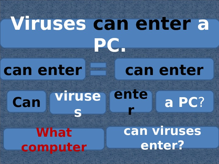 Viruses can enter a PC. can enter Can viruse s ente r a PC ? can