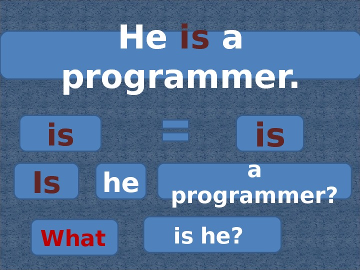 He is  a programmer. is is Is he a programmer? What  is  he?