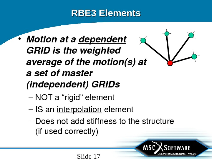 "Slide 17 RBE 3 Elements – NOTa""rigid""element – ISan interpolation element – Doesnotaddstiffnesstothestructure (ifusedcorrectly) • Motionata"