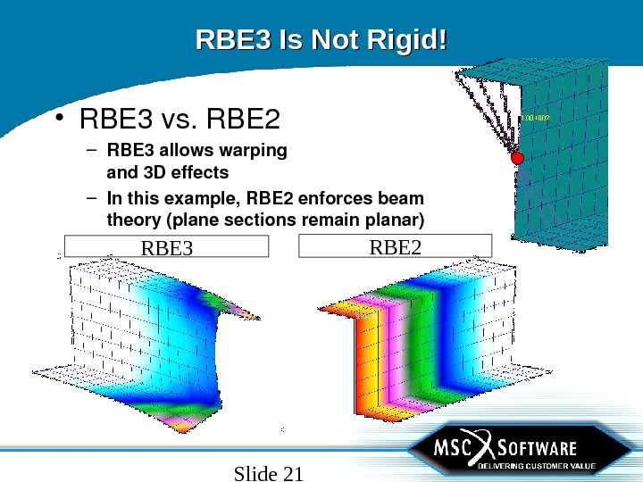 Slide 21 RBE 3 Is Not Rigid! • RBE 3 vs. RBE 2 – RBE 3