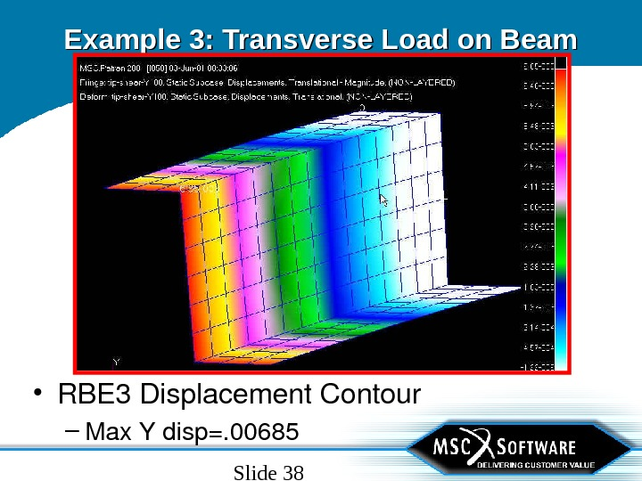 Slide 38 Example 3: Transverse Load on Beam • RBE 3 Displacement. Contour – Max. Ydisp=.