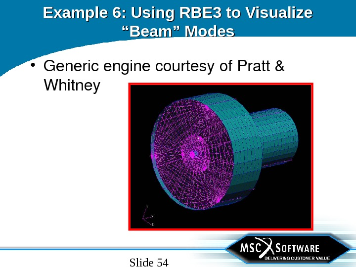"Slide 54 Example 6: Using RBE 3 to Visualize ""Beam"" Modes • Genericenginecourtesyof. Pratt& Whitney"