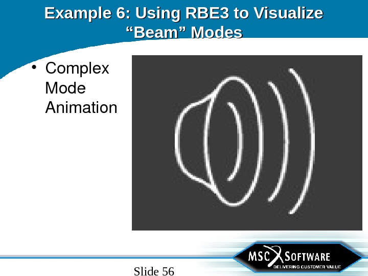 "Slide 56 Example 6: Using RBE 3 to Visualize ""Beam"" Modes • Complex Mode Animation"