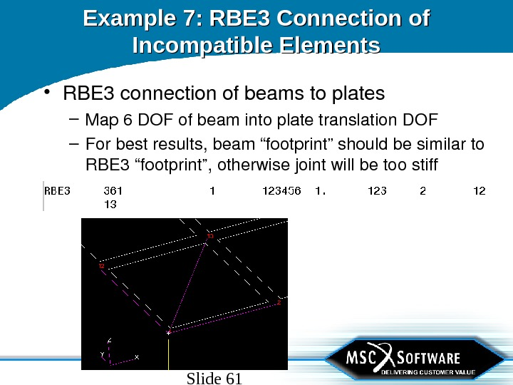 Slide 61 Example 7: RBE 3 Connection of Incompatible Elements • RBE 3 connectionofbeamstoplates – Map