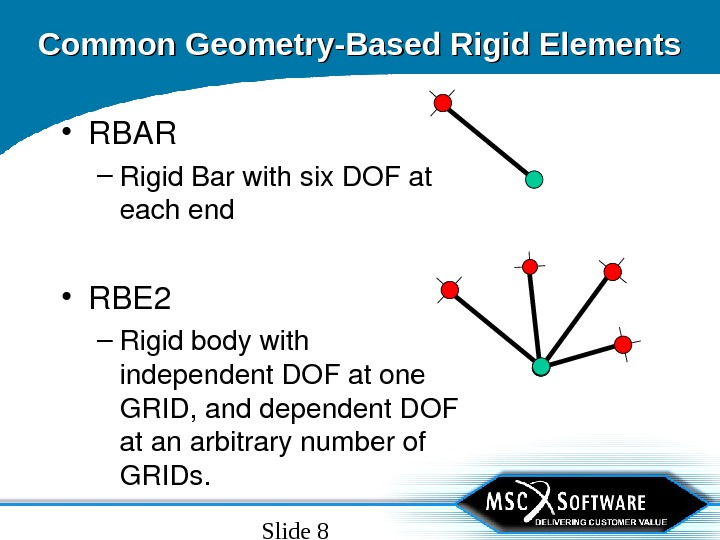 Slide 8 Common Geometry-Based Rigid Elements • RBAR – Rigid. Barwithsix. DOFat eachend • RBE 2