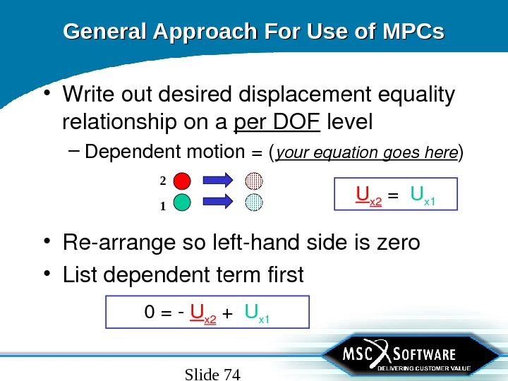 Slide 74 General Approach For Use of MPCs • Writeoutdesireddisplacementequality relationshipona per. DOF level – Dependentmotion=(