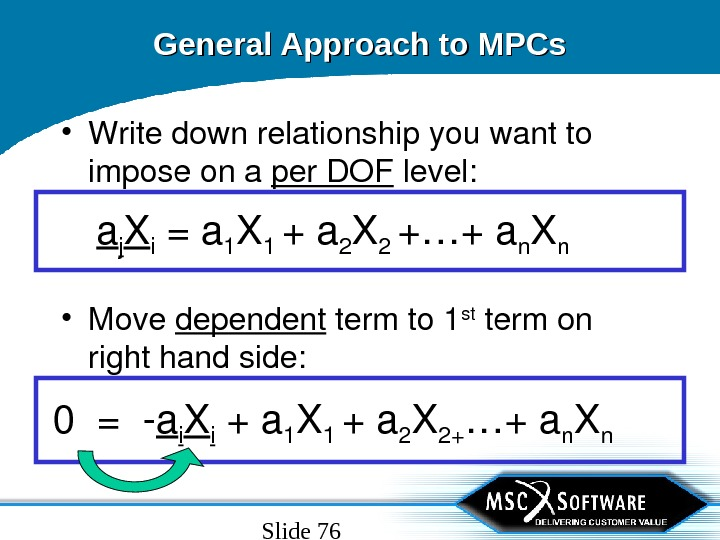 Slide 76 General Approach to MPCs • Writedownrelationshipyouwantto imposeona per. DOF level: a j X i