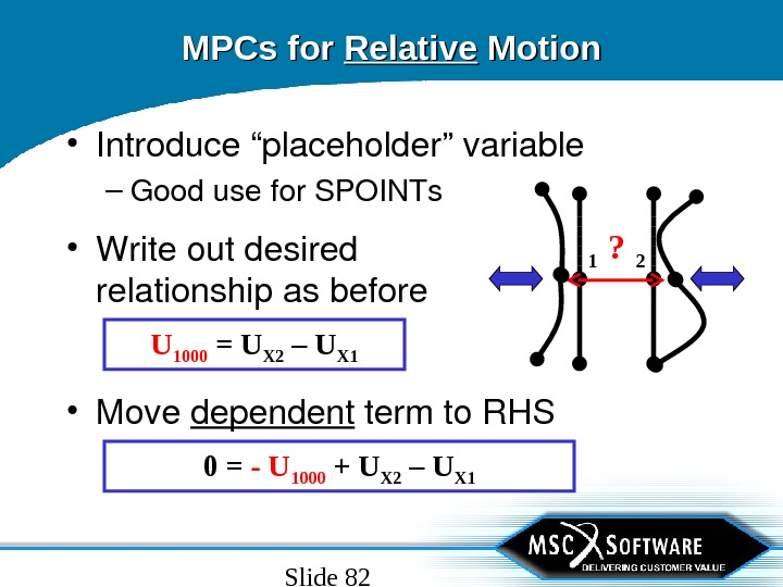"Slide 82 MPCs for Relative Motion • Introduce""placeholder""variable – Goodusefor. SPOINTs 1 2?  • Move"