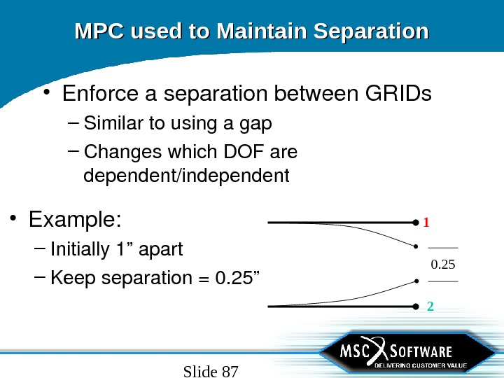 Slide 87 MPC used to Maintain Separation • Enforceaseparationbetween. GRIDs – Similartousingagap – Changeswhich. DOFare dependent/independent