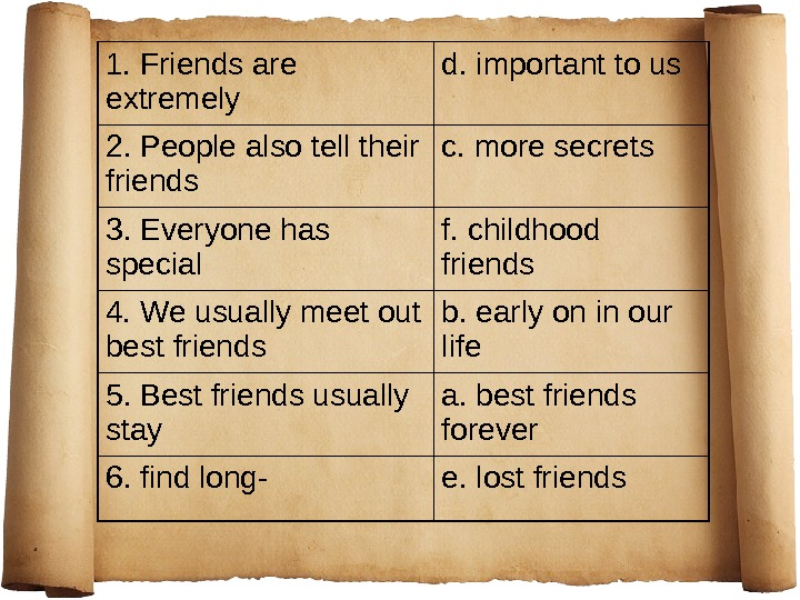 1. Friends are extremely d. important to us 2. People also tell their friends c. more