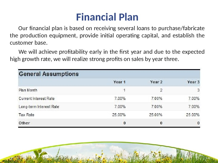 Financial Plan   Our financial plan is based on receiving several loans to purchase/fabricate the