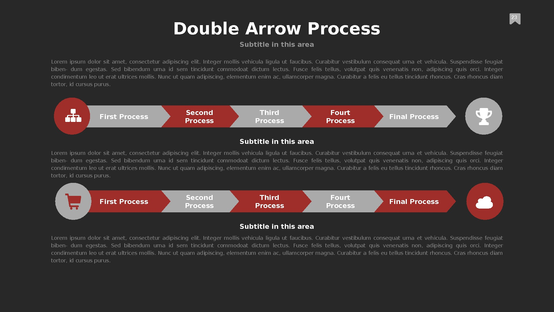 First Process Second Process Third Process Fourt Process Final Process 23 Double Arrow Process Subtitle in