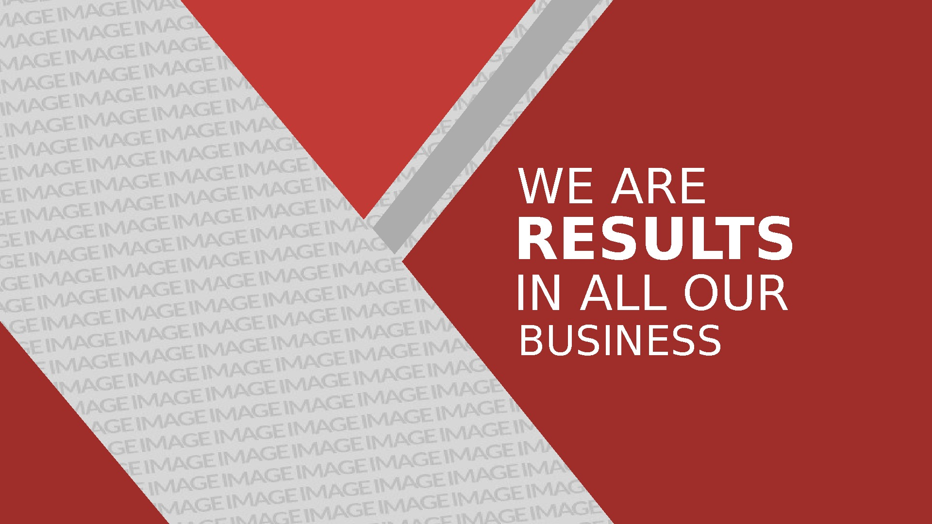 WE ARE RESULTS IN ALL OUR BUSINESS