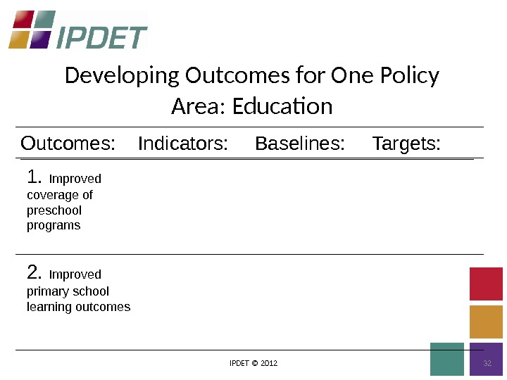 Developing Outcomes for One Policy Area: Education IPDET © 2012 322.  Improved primary school learning