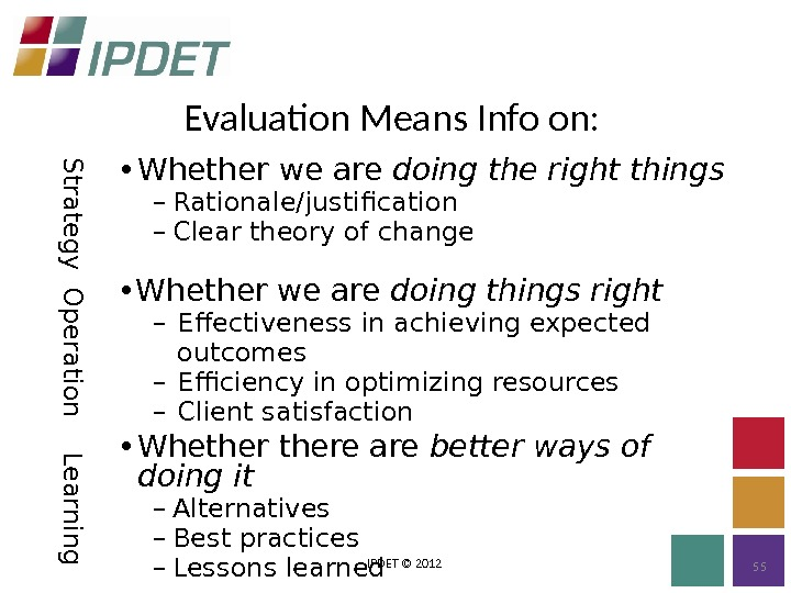 Evaluation Means Info on: IPDET © 2012 55 S tra te g y • Whether we