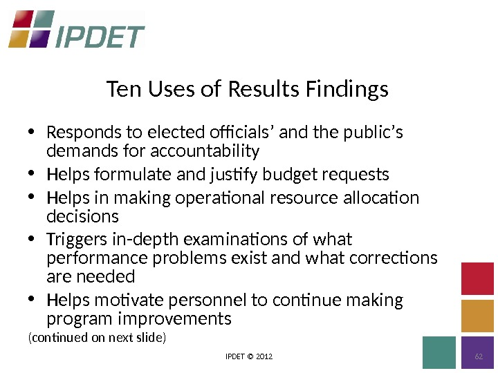 Ten Uses of Results Findings IPDET © 2012 62 • Responds to elected officials ' and