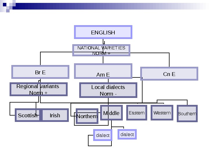 ENGLISH Br E Am E Cn ENATIONAL VARIETIES NORM + Regional variants Norm + Irish. Scottish