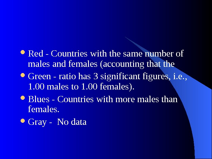 Red - Countries with the same number of males and females (accounting that the