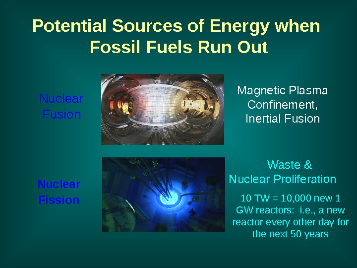 Potential Sources of Energy when Fossil Fuels Run Out Nuclear Fission Magnetic Plasma Confinement,