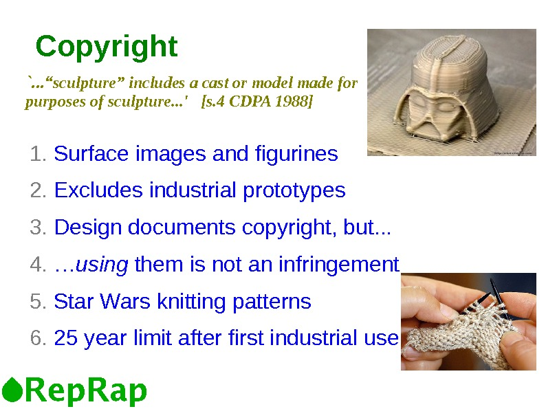 Copyright 1.  Surface images and figurines 2.  Excludes industrial prototypes 3.