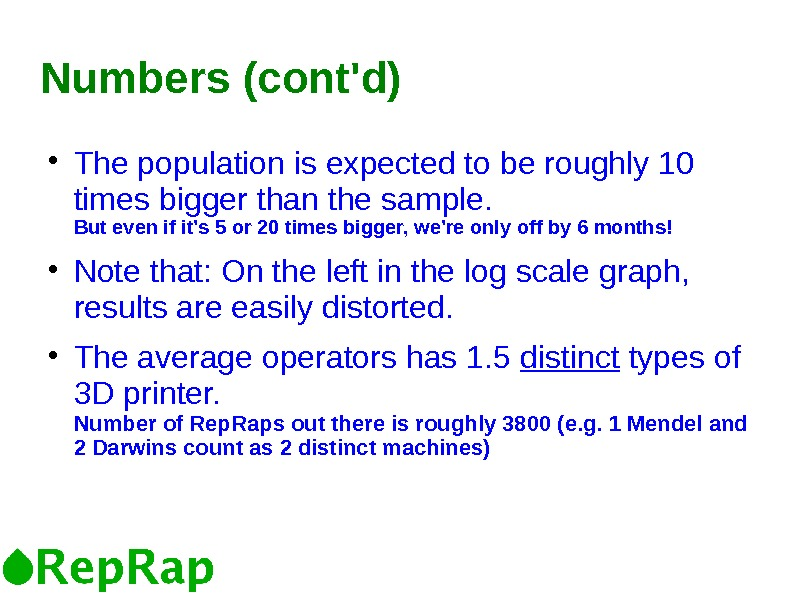 Numbers (cont'd) The population is expected to be roughly 10 times bigger than the