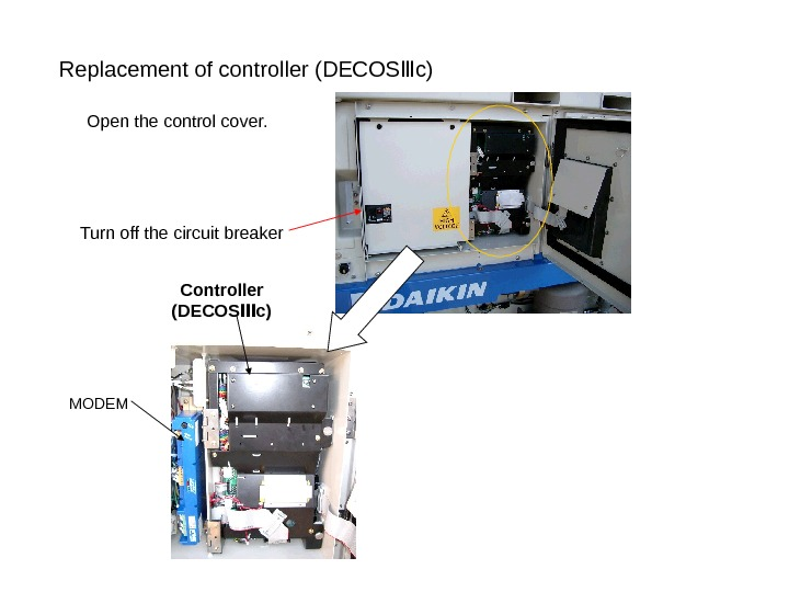 Replacement of controller (DECOS c)Ⅲ Turn off the circuit breaker Open the control cover.
