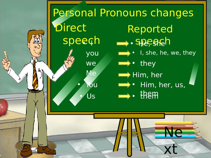 Personal Pronouns changes Direct speech Reported speech • I • He, she you • I, she,