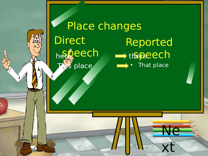 Place changes Direct speech Reported speech here there This place • That place Ne xt