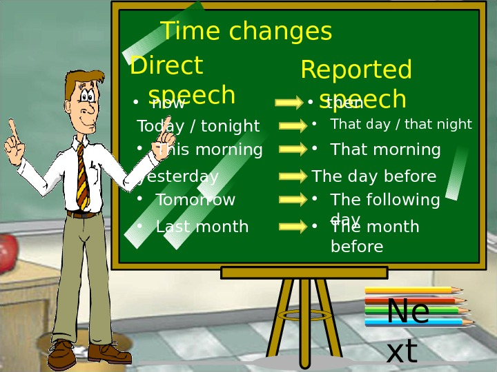 Time changes Direct speech Reported speech • now • then Today / tonight • That day