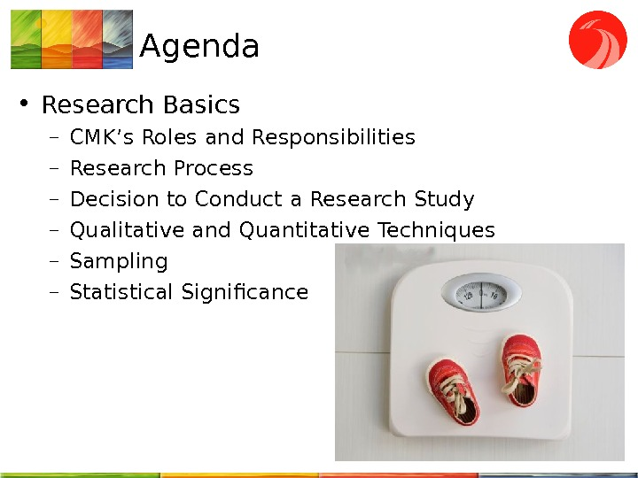 Agenda • Research Basics – CMK's Roles and Responsibilities – Research Process – Decision to Conduct